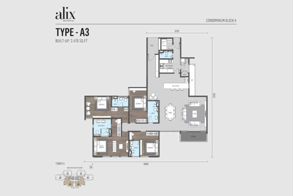 Alix Residences Type A3 Floor Plan