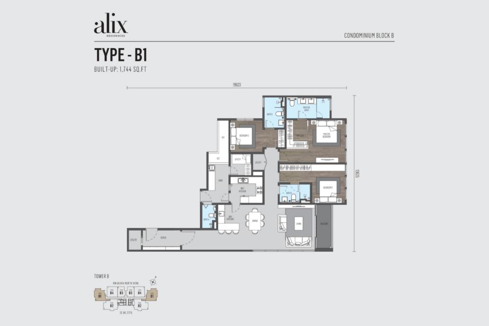 Alix Residences Type B1 Floor Plan