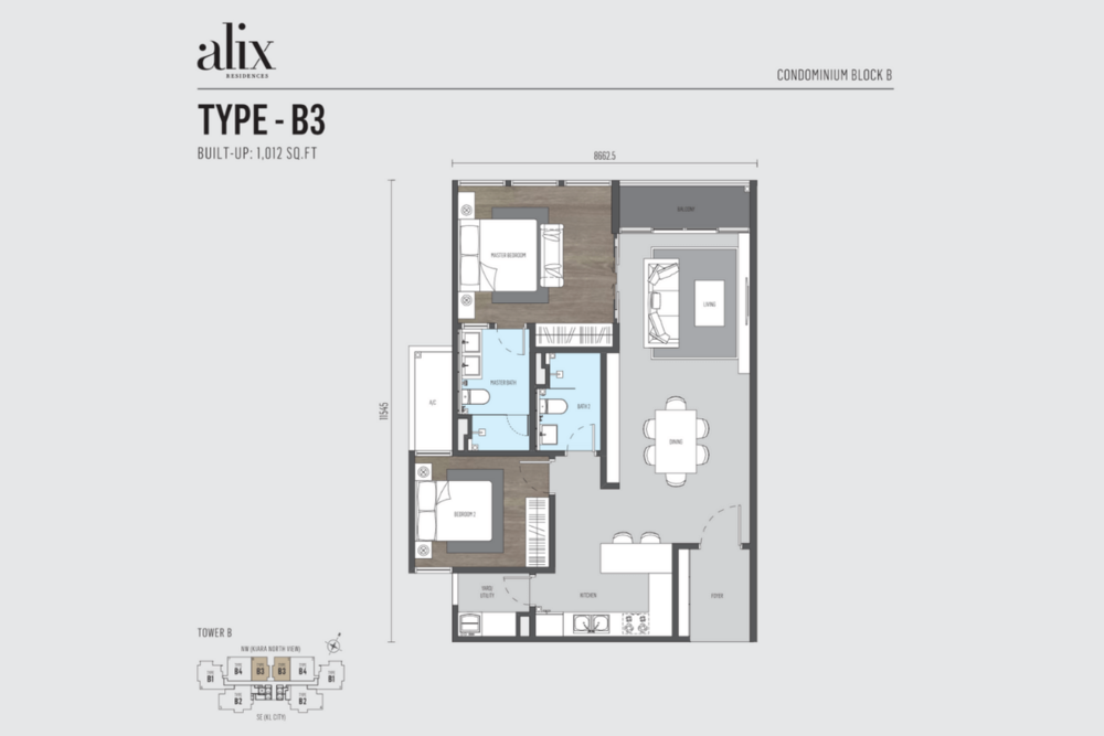 Alix Residences Type B3 Floor Plan