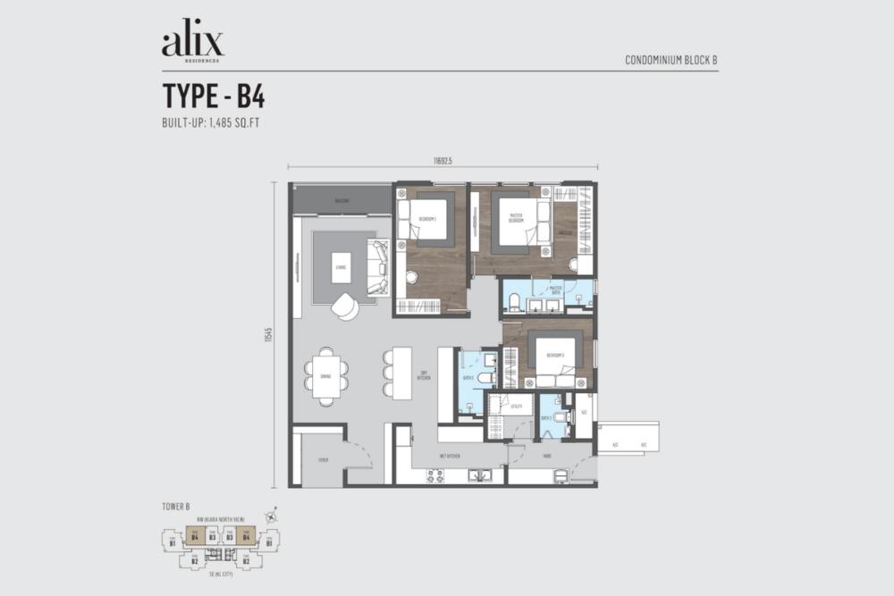 Alix Residences Type B4 Floor Plan
