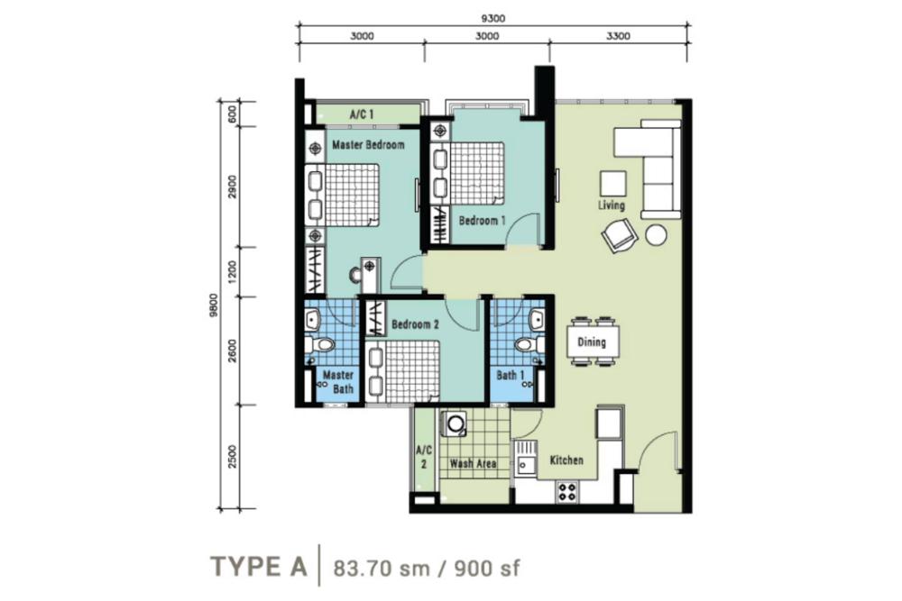 Berlian Residence @ Setapak Type A Floor Plan