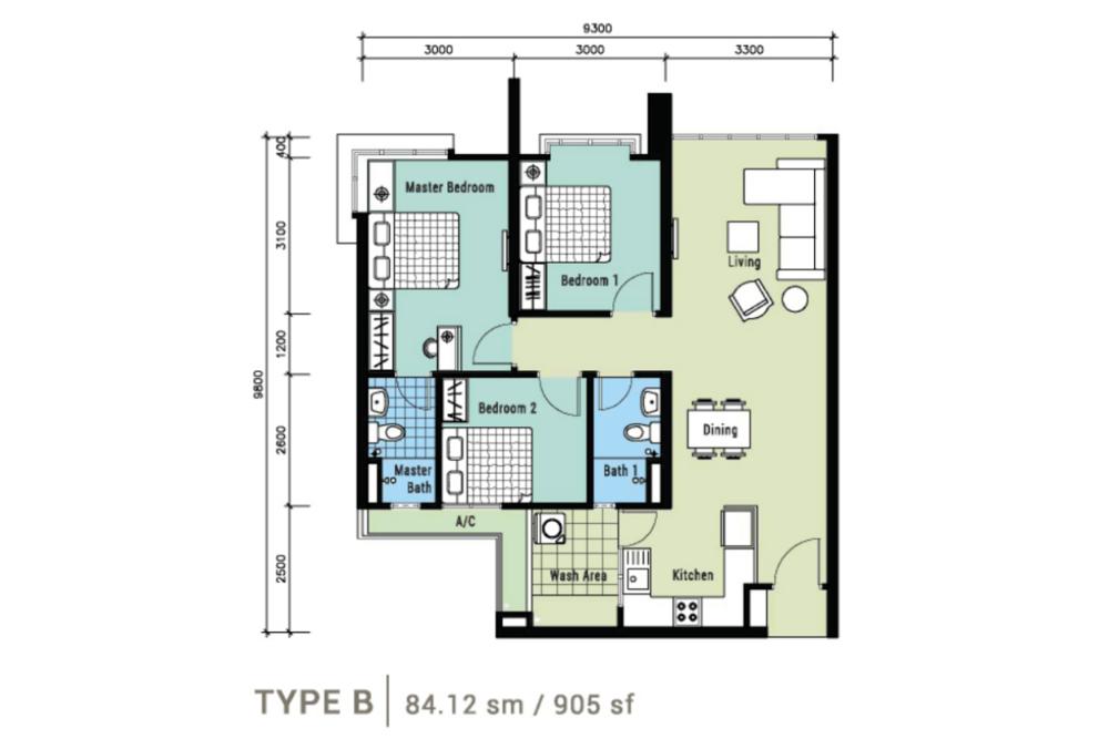 Berlian Residence @ Setapak Type B Floor Plan