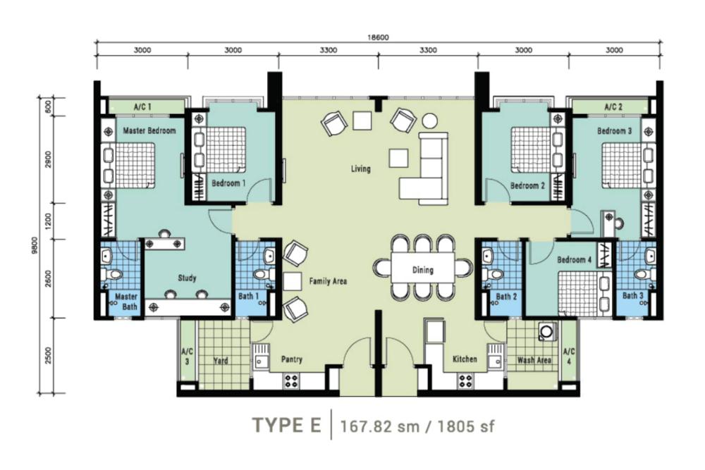 Berlian Residence @ Setapak Type E Floor Plan