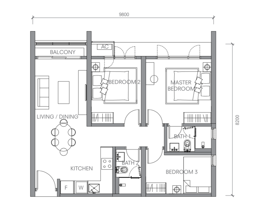 BloomsVale Type B1 Floor Plan