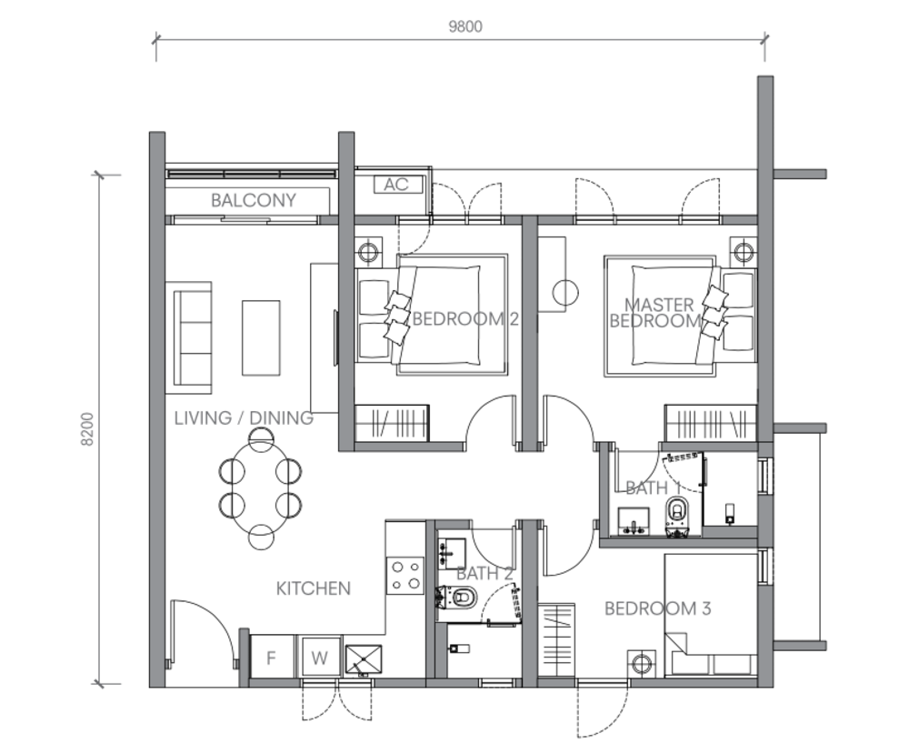BloomsVale Type B2 Floor Plan