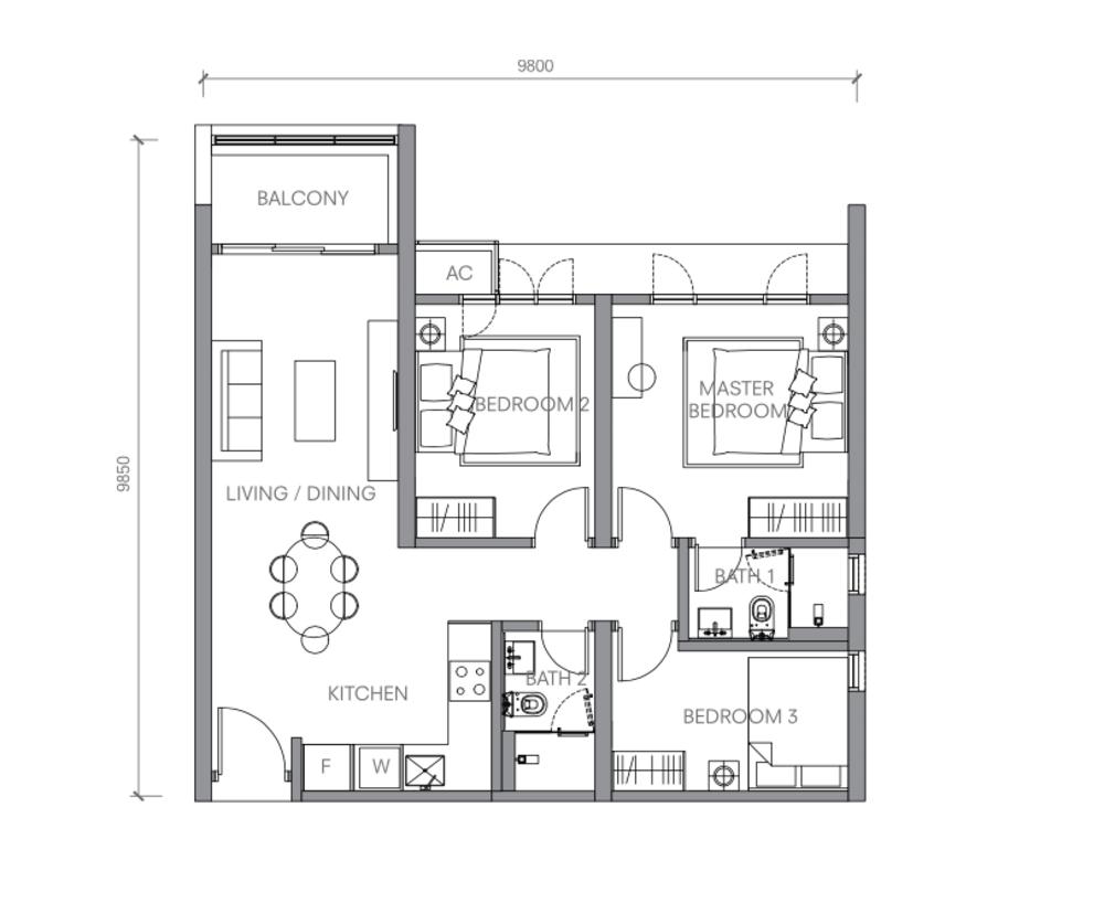 BloomsVale Type B3 Floor Plan