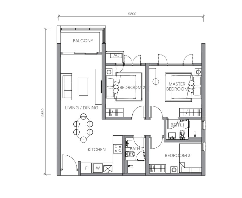BloomsVale Type B3-A Floor Plan