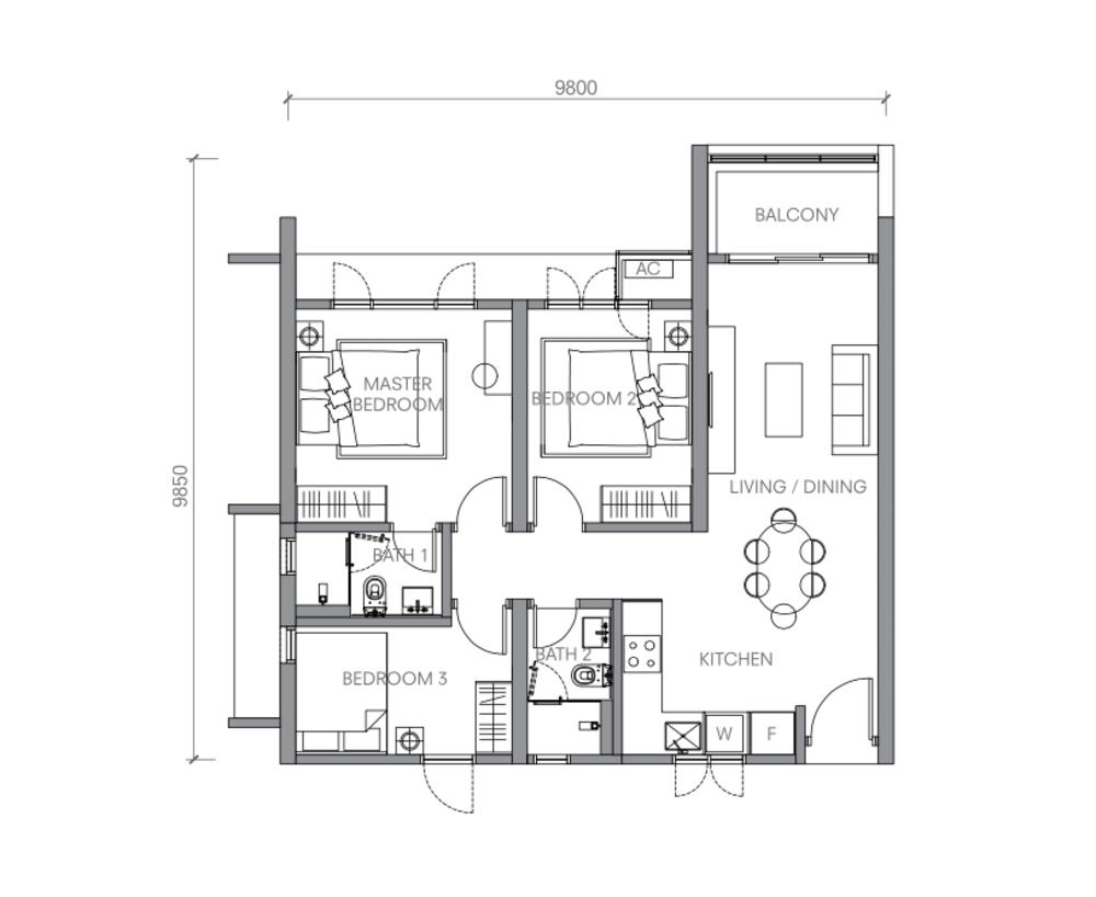 BloomsVale Type B4 Floor Plan