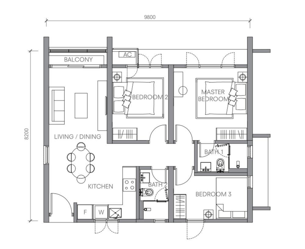 BloomsVale TYPE C1 Floor Plan