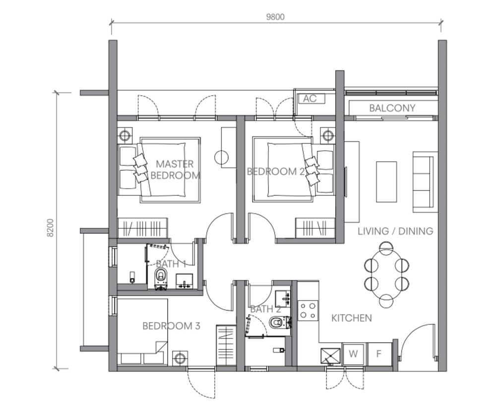 BloomsVale Type C1-A Floor Plan