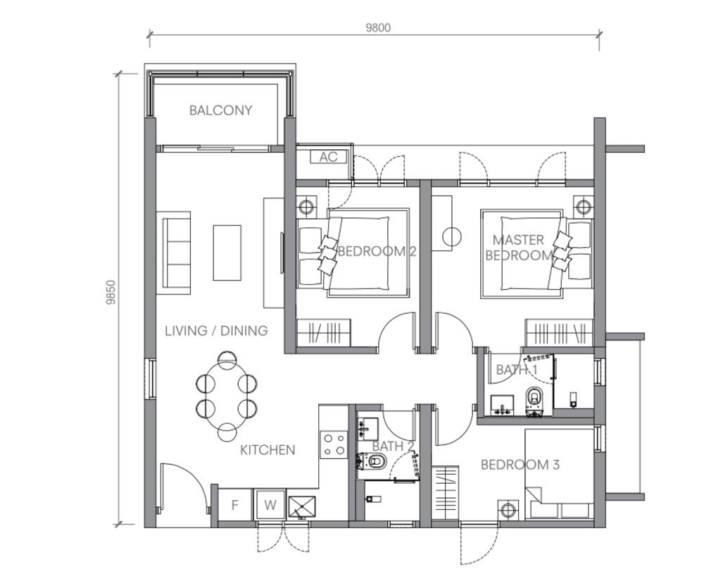 BloomsVale Type C2-A Floor Plan
