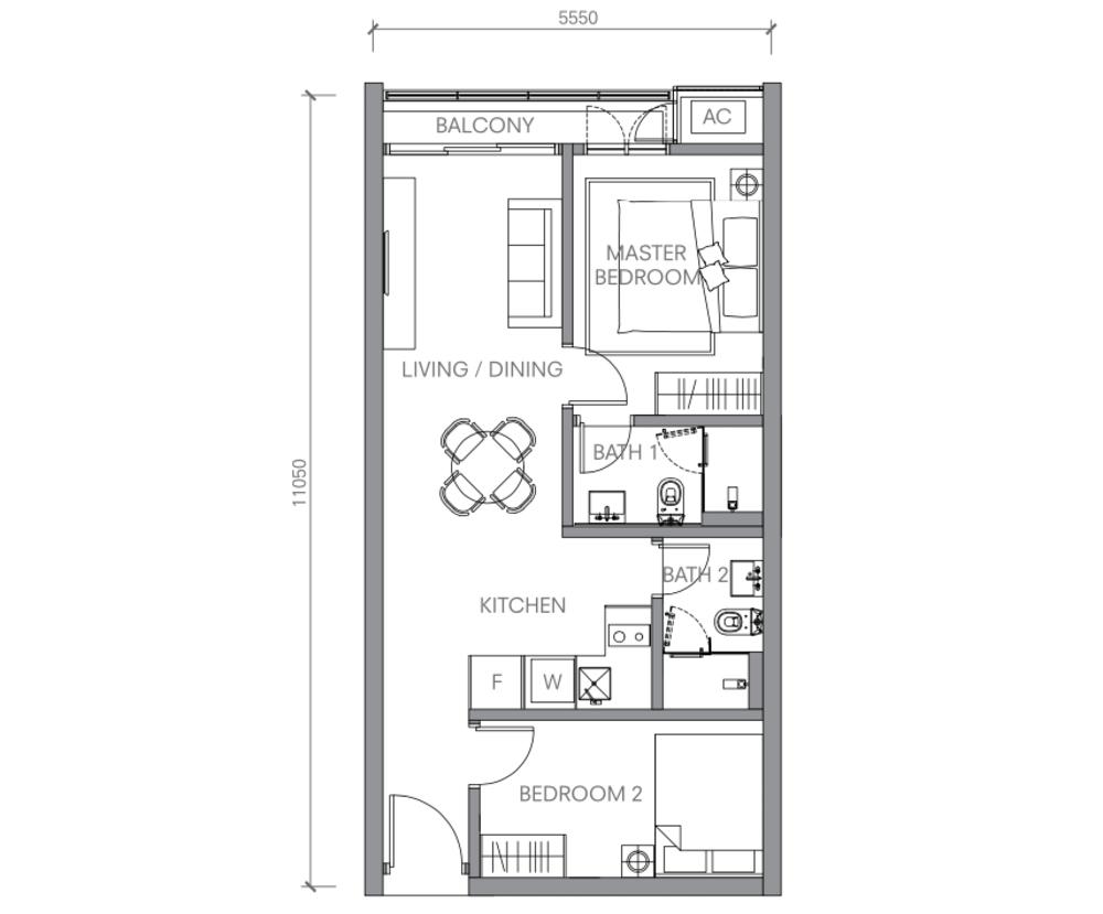 BloomsVale Type E1 Floor Plan