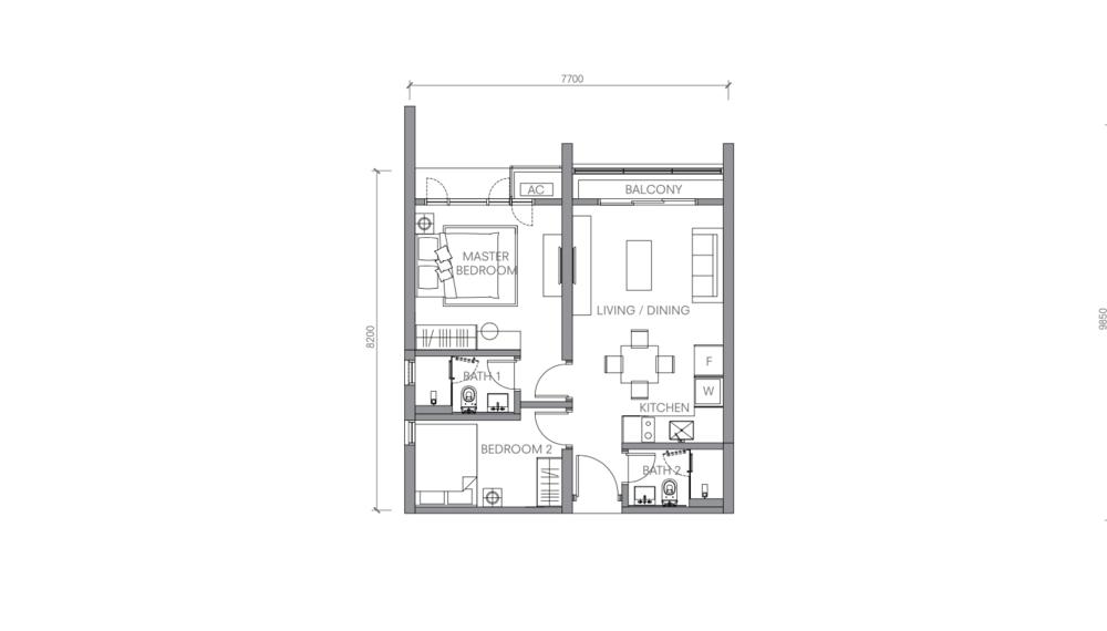 BloomsVale Type F2-A Floor Plan