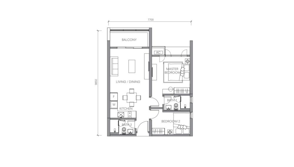 BloomsVale Type F2-B Floor Plan