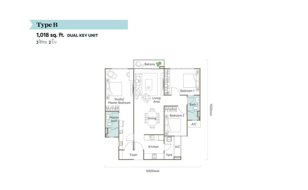 The Valley @ SkySierra Type B (Dual Key) Floor Plan