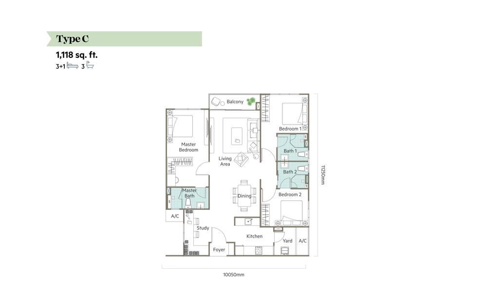 The Valley @ SkySierra Type C Floor Plan