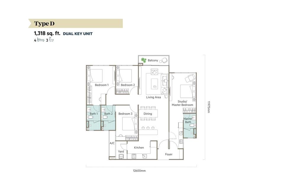 The Valley @ SkySierra Type D (Dual Key) Floor Plan