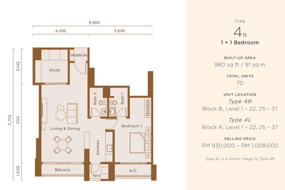 One Cochrane Residences Type 4 Floor Plan