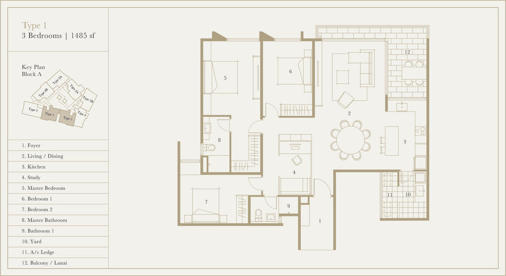 Utamara Boutique Residences Block A Type 1 Floor Plan