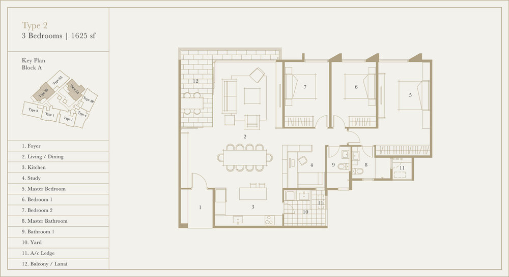 Utamara Boutique Residences Block A Type 2 Floor Plan
