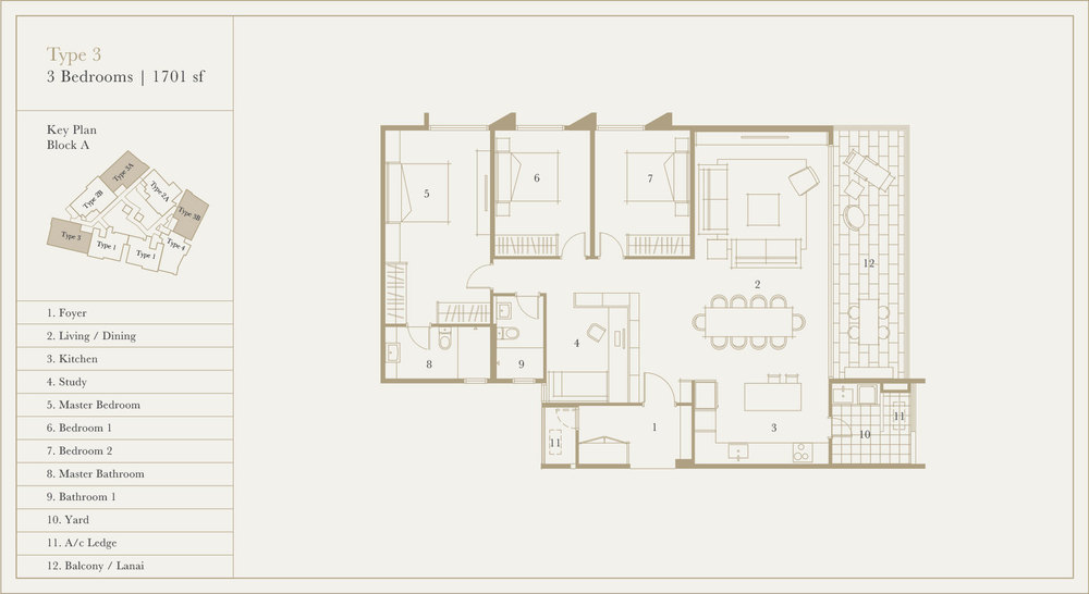 Utamara Boutique Residences Block A Type 3 Floor Plan