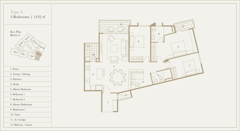 Utamara Boutique Residences Block A Type 4 Floor Plan
