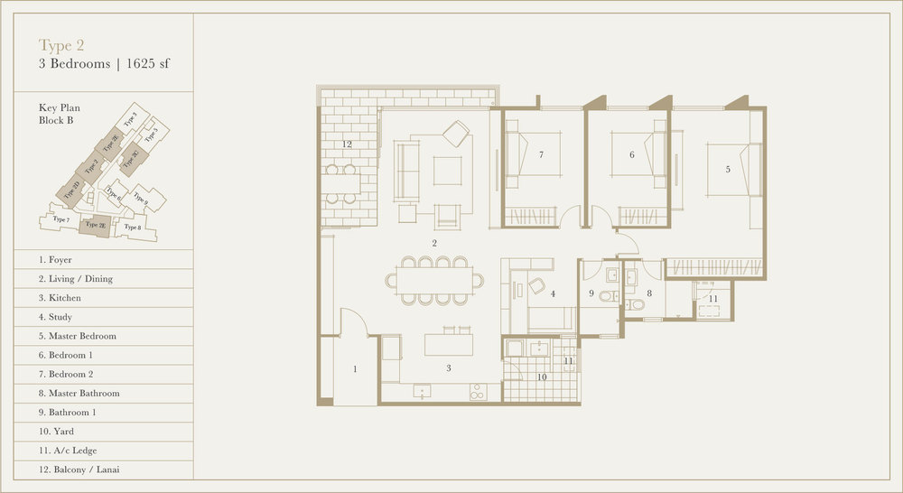 Utamara Boutique Residences Block B Type 2 Floor Plan