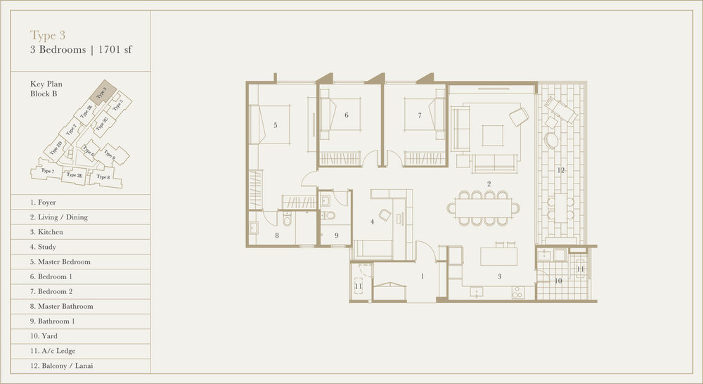 Utamara Boutique Residences Block B Type 3 Floor Plan