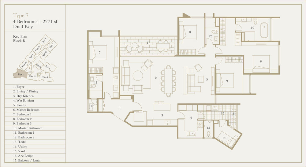 Utamara Boutique Residences Block B Type 7 (Dual Key) Floor Plan