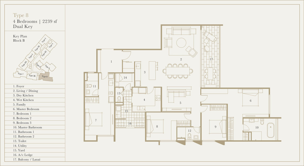 Utamara Boutique Residences Block B Type 8 (Dual Key) Floor Plan