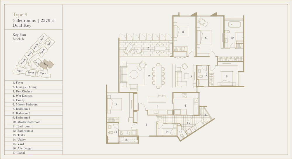 Utamara Boutique Residences Block B Type 9 (Dual Key) Floor Plan