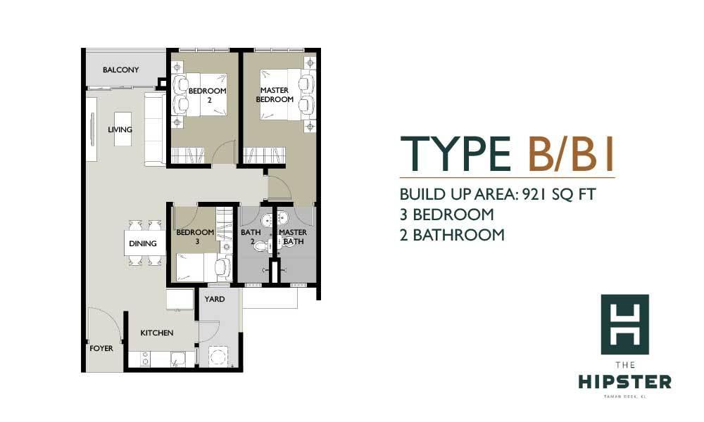 The Hipster Type B/B1 Floor Plan