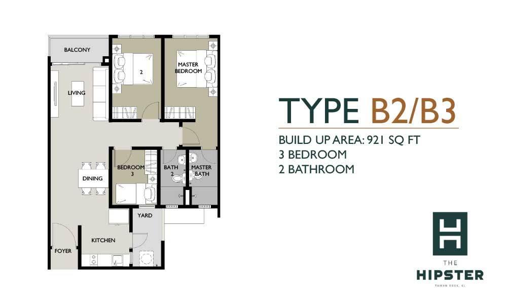 The Hipster Type B2/B3 Floor Plan