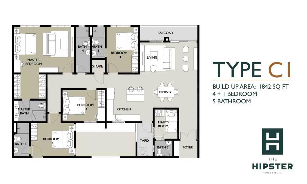 The Hipster Type C1 Floor Plan
