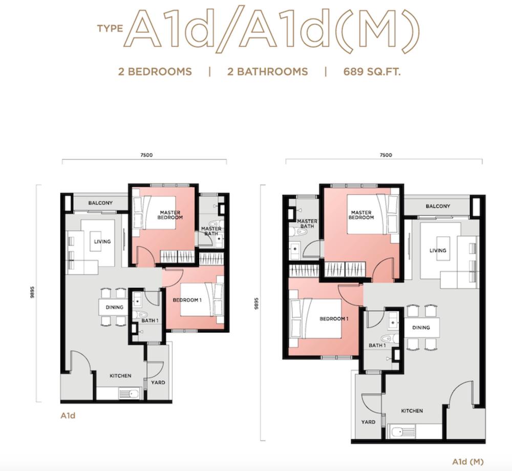 Vista Sentul Type A1d/A1d(M) Floor Plan