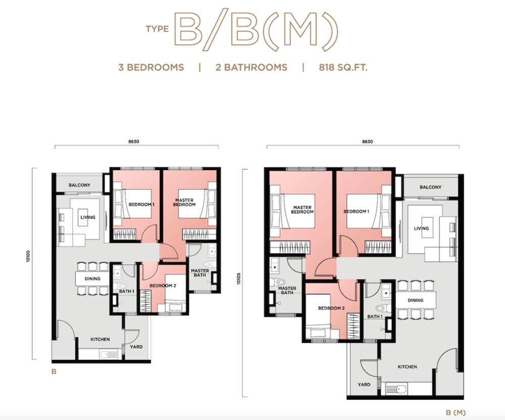 Vista Sentul Type B/B(M) Floor Plan