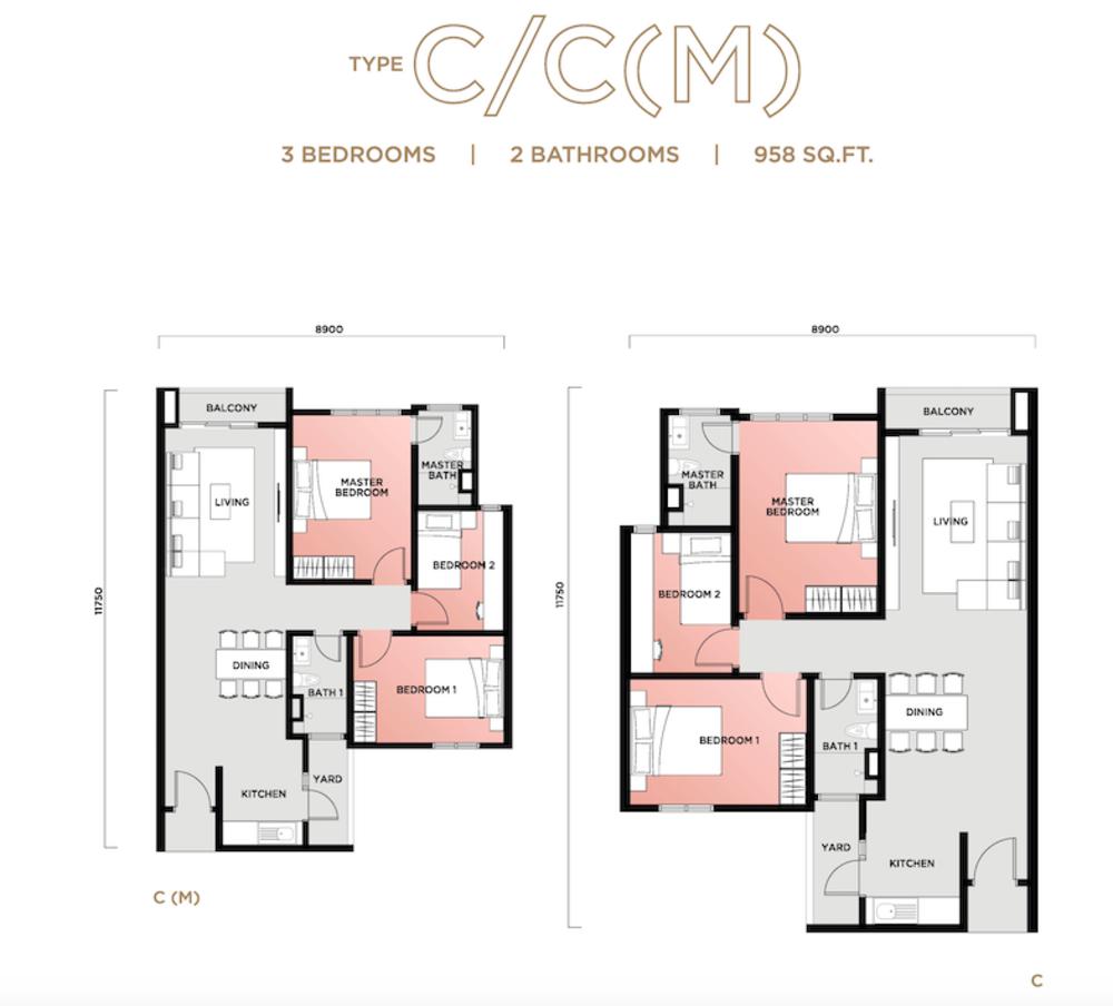 Vista Sentul Type C/C(M) Floor Plan