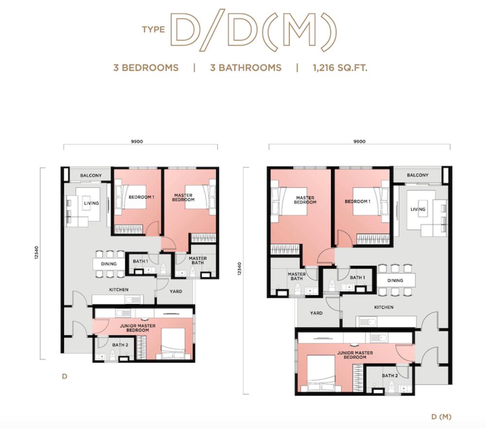 Vista Sentul Type D/D(M) Floor Plan