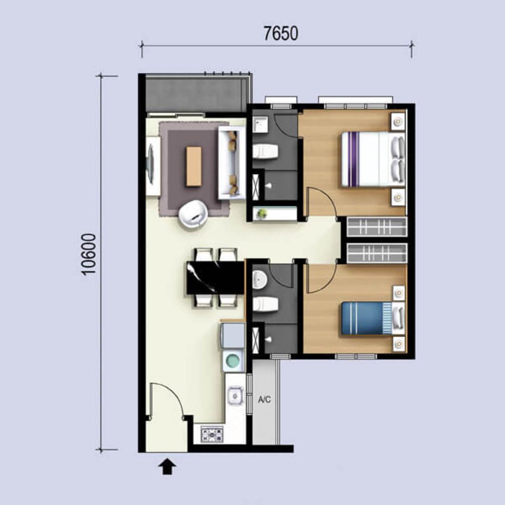 M Luna Type A Floor Plan