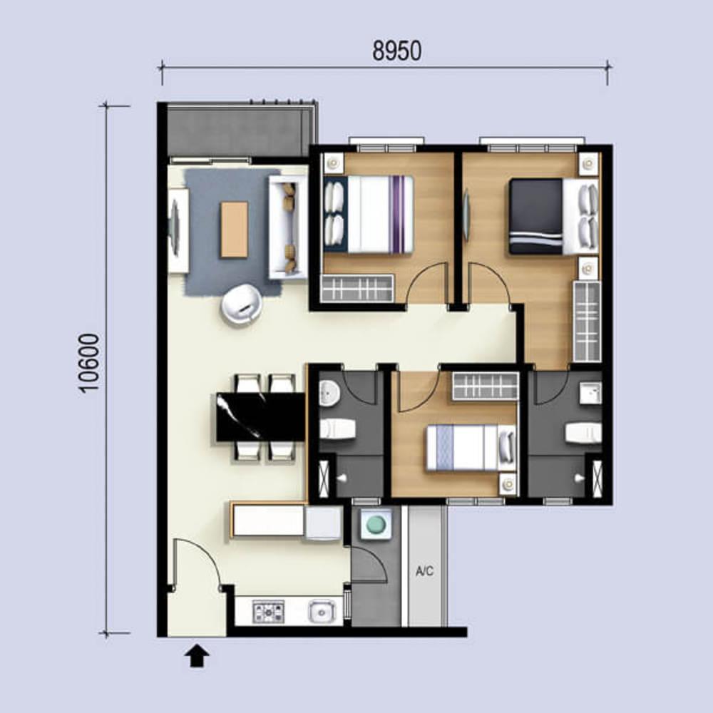 M Luna Type B Floor Plan