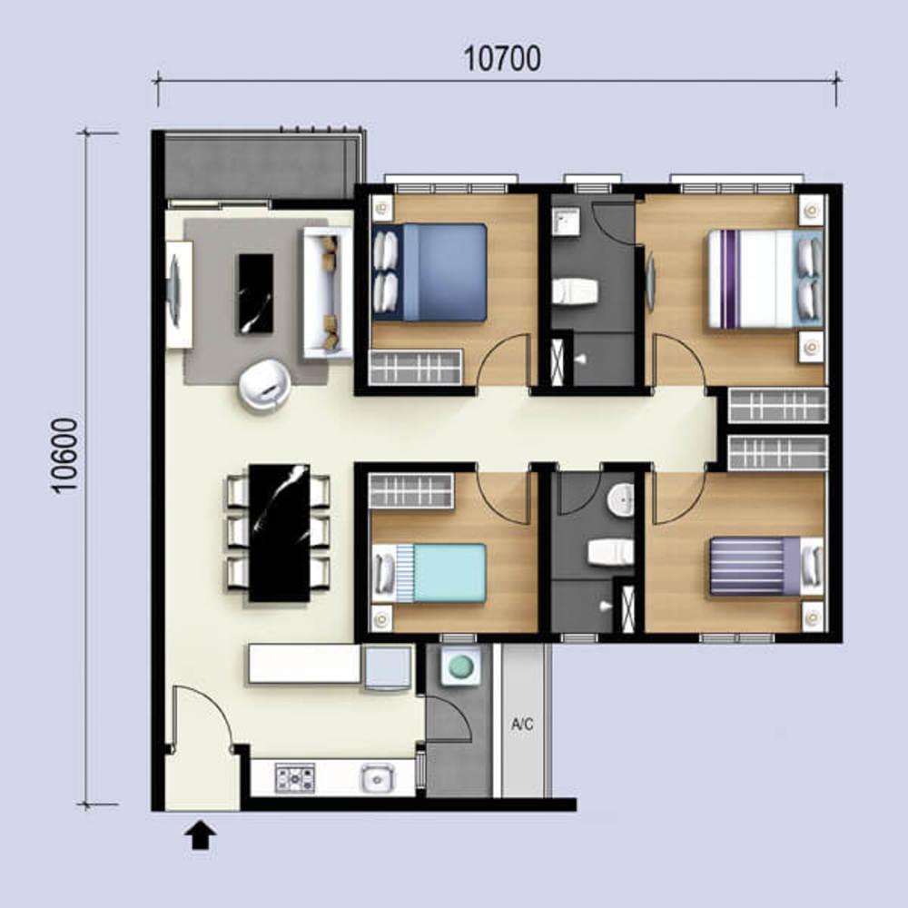 M Luna Type C Floor Plan
