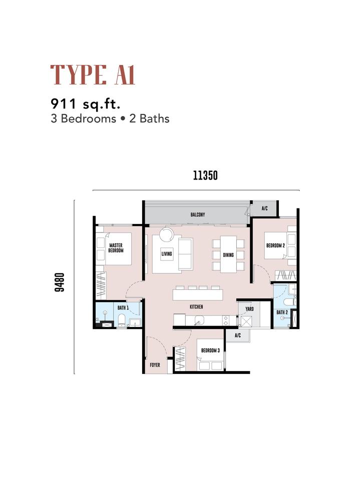 EdgeWood Residences Type A1 Floor Plan