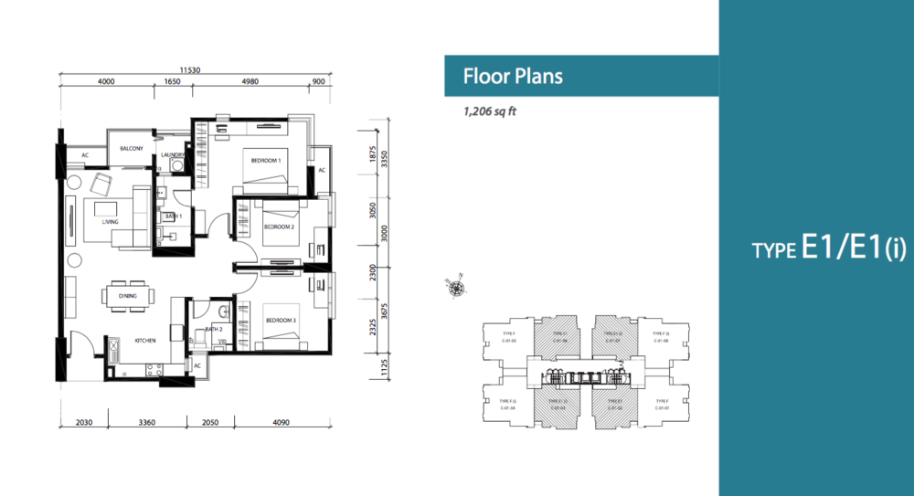 Jade Hills Jadite Suites Type E1/E1(i) Floor Plan