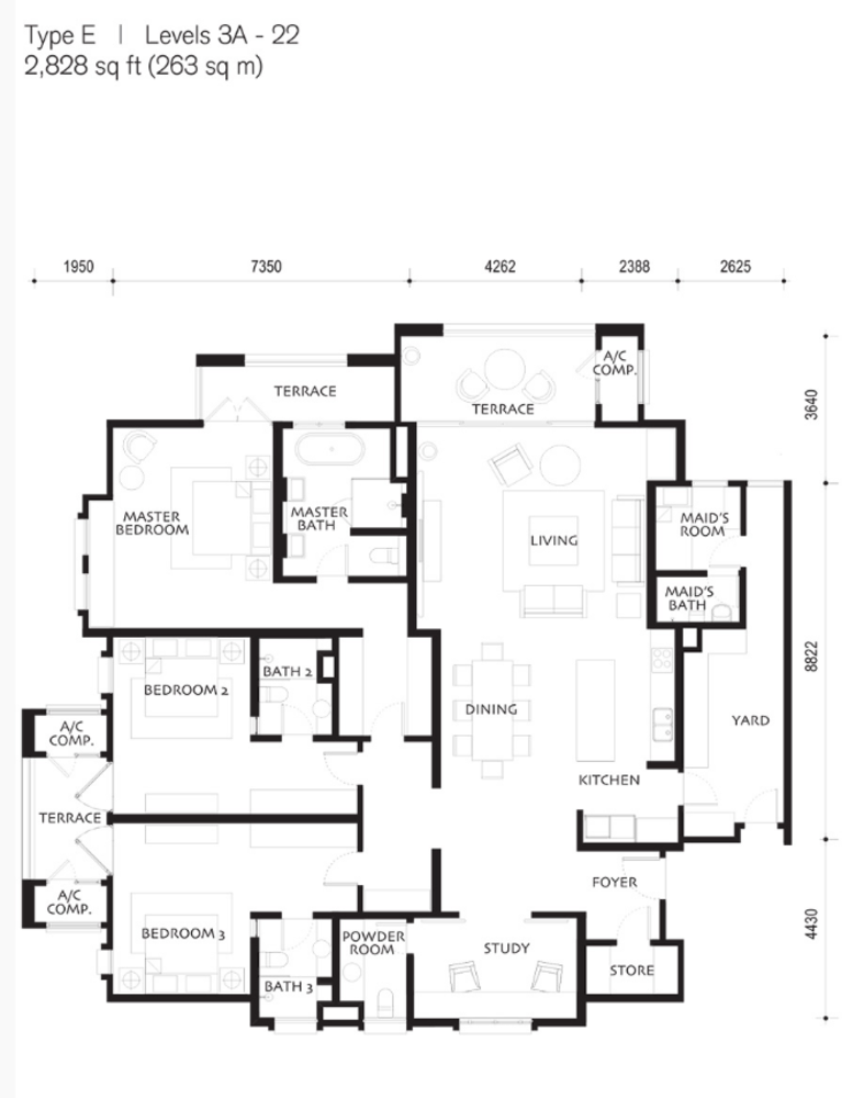Quayside Andaman at Quayside Type E Floor Plan