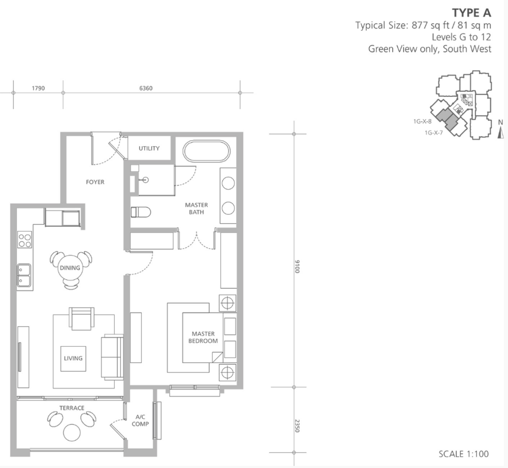 Quayside 18 East at Andaman Type A Floor Plan