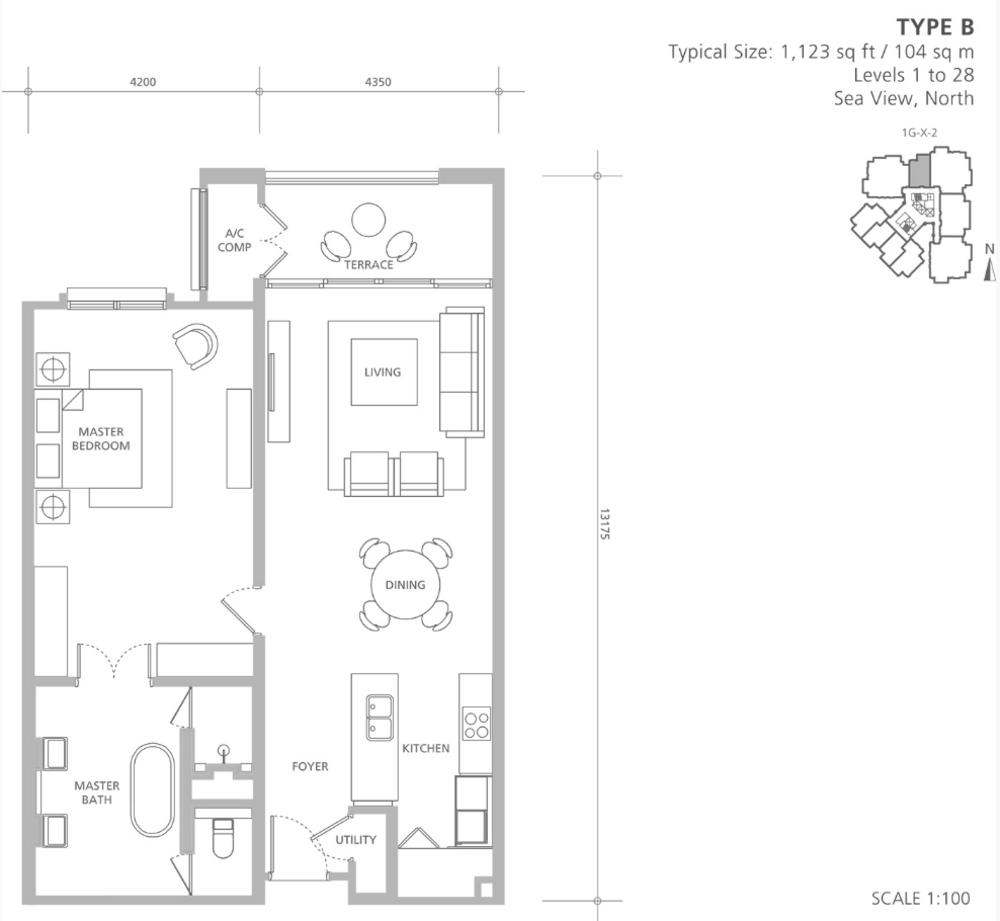 Quayside 18 East at Andaman Type B Floor Plan