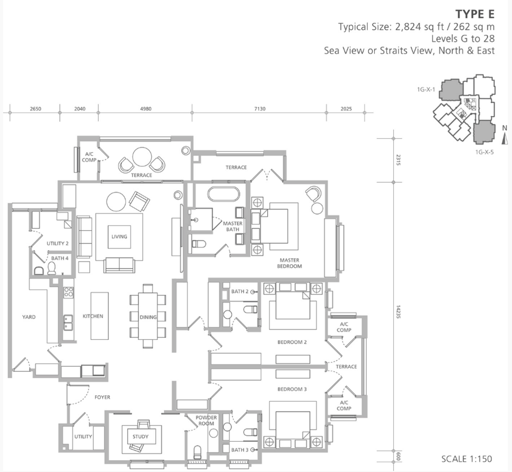 Quayside 18 East at Andaman Type E Floor Plan