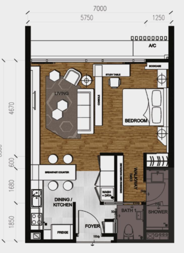 Anggun Residences Type A / A1 Floor Plan