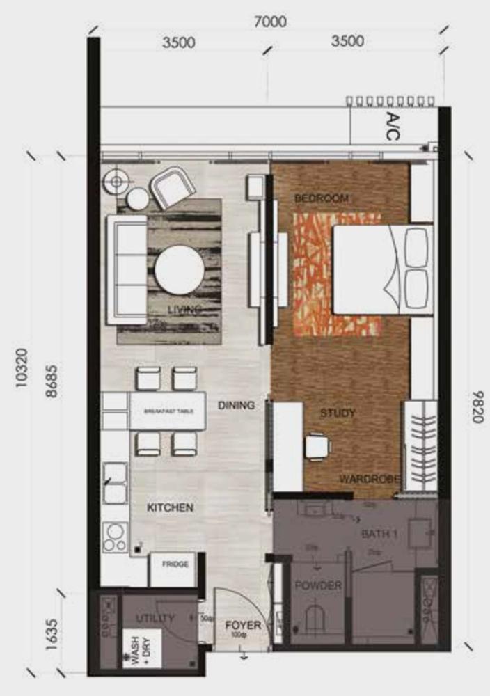 Anggun Residences Type B / B1 Floor Plan