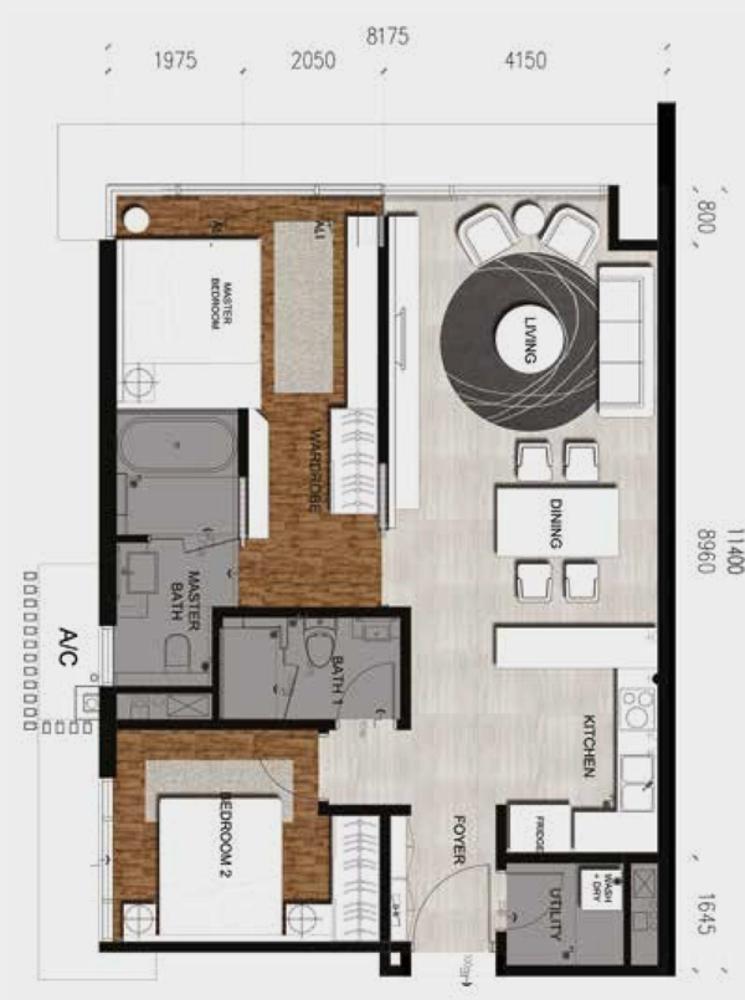 Anggun Residences Type C / C1 Floor Plan